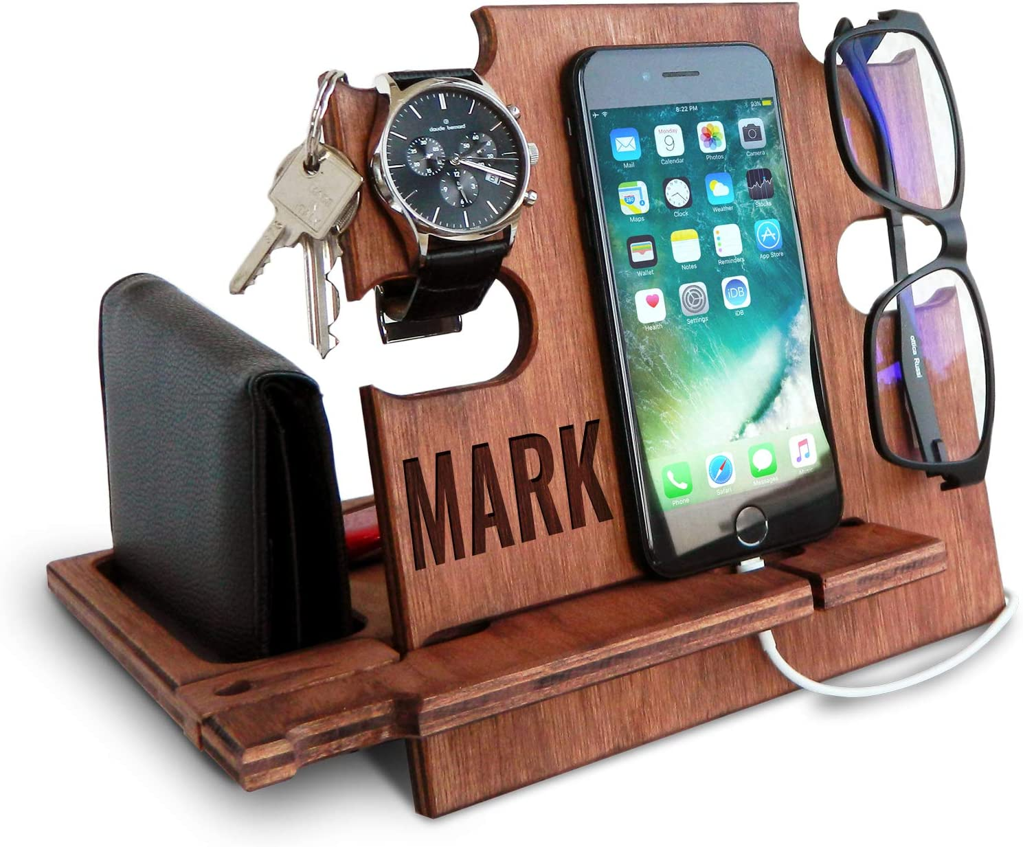 Personalized Gifts for Men, Cell Phone Stand, Wooden Desk Organizer, Phone Dock - Nightstand Charging Station, Phone Holder, Gift Ideas for Christmas, Birthday, Anniversary (Walnut)