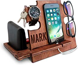 Personalized Gifts for Men, Cell Phone Stand, Wooden Desk Organizer, iPhone Dock - Nightstand Charging Station, Phone Holder, Gift Ideas for Christmas, Birthday, Anniversary (Walnut)