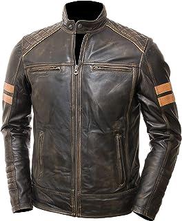 Brown Leather Jacket Men Distressed Leather Jacket For Biker Rider Retro Cafe Racer Leather Jacket
