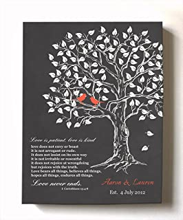 MuralMax - Personalized Anniversary Family Tree Artwork - Love is Patient Love is Kind Bible Verse - Unique Wedding & Housewarming Canvas Wall Decor Gifts - Color Gray # 1 - Size - 10x12