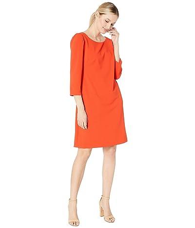 Vince Camuto Long Sleeve Puff Shoulder Crepe Ponte Dress (Mandarin Red) Women