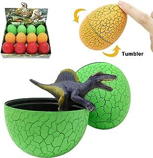 KISSKIDS Dinosaur Egg Surprise Plastic Tumbler Toy with 12 Styles Mini Dinosaur Figure for Kids,12 Pack
