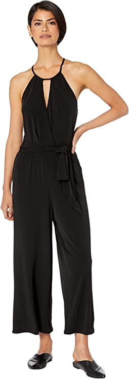 Halter Neckline Cross Front Knit Jumpsuit