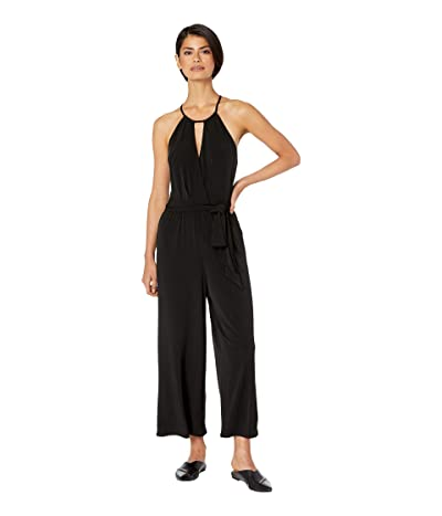 1.STATE Halter Neckline Cross Front Knit Jumpsuit (Rich Black) Women