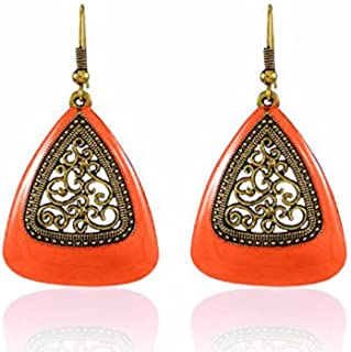 Indian Vintage Retro Ethnic Gypsy Oxidized Gold Tone Boho Enamelled Dangle Drop Hook Earrings for Girls and Women Love Gift