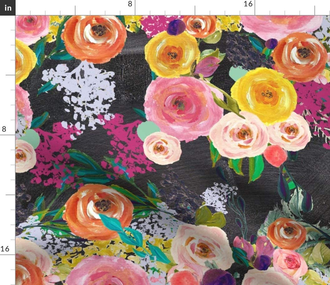 Cheap Spoonflower Fabric - Autumn Blooms Large Floral Chalkboard Print Seattle Mall