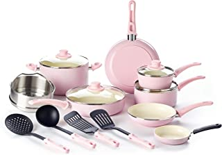GreenLife Grip Set, 16-Piece, Soft Pink