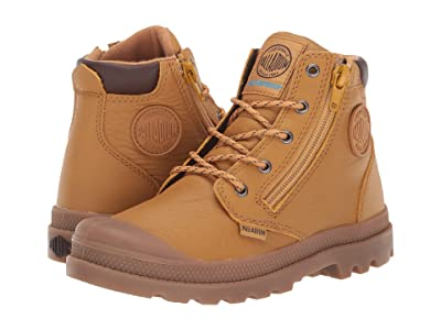 Palladium Pampa Hi Cuff Waterproof (Toddler/Little Kid) (Amber Gold/Chocolate Brown/Mid Gum) Lace-up Boots
