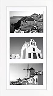 Golden State Art, 7x14 White Photo Wood Collage Frame with Mat displays (3) 4