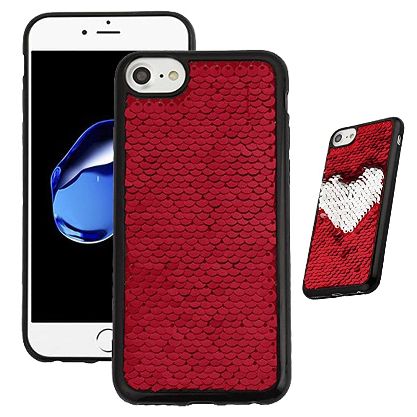 Phonelicious Reversible Double-sided Flip Sequin Case Series For APPLE IPHONE 7 / IPHONE 8 [Slim Fit] [Lightweight] Hybrid Cover TPU (RED)