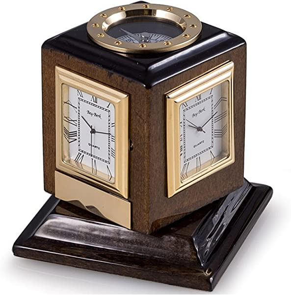 Desk Clocks Multiple Time Zone Revolving Desk Clock With Compass