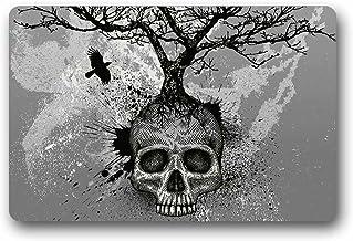 Doormats Custom Skull Tree Black Eagle Machine Washable Top Fabric Non-Slip Rubber Indoor Outdoor Home Office Bathroom Siz...
