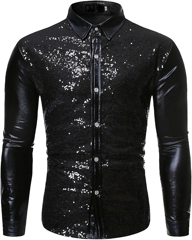 LEIYAN Mens Fashion Sequin Shiny Button Down Shirt Long Sleeve Slim Fit 70s Disco Nightclub Party Dress Shirts Tops