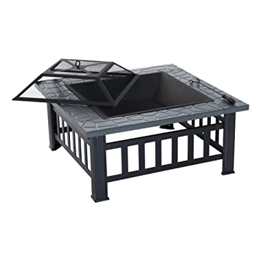 Outsunny 32  Steel Square Outdoor Patio Wood Burning Fire Pit Table Top Set