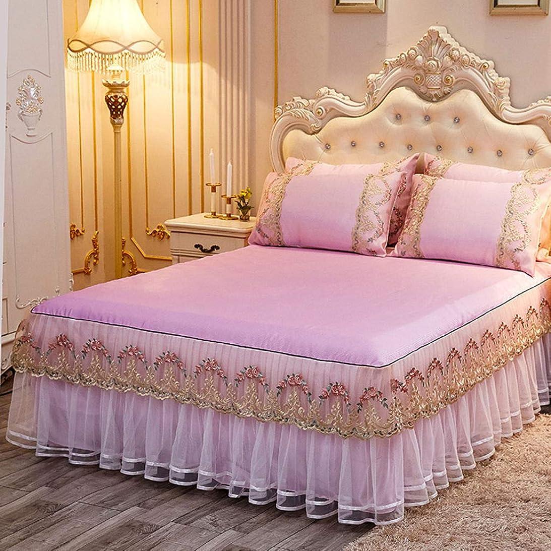 レバーカリングうめきほこり フリル ベッド スカート, ドロップ ウルトラ-柔らかい ヨーロッパ人 スタイル ベッドスプレッド カバーレット プリーツ ほこり フリル ベッド スカート-ピンク-180×220センチメートル(71×86で)