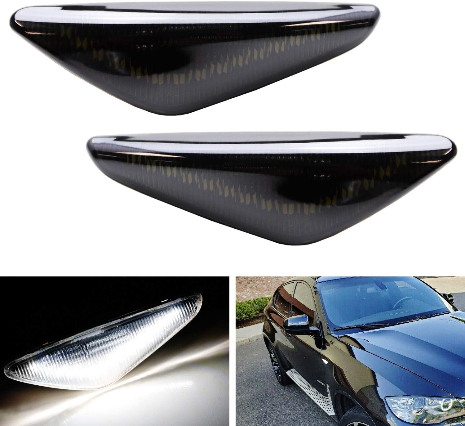 iJDMTOY Smoked Lens 20-SMD V-Shape Fender OFFicial site Cheap SALE Start Front LED Xenon White