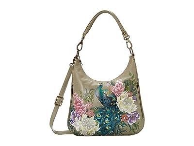 Anuschka Handbags Convertible Slim Hobo with Crossbody Strap 662 (Regal Peacock) Handbags