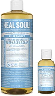 Dr. Bronner's - Pure-Castile Liquid Soap (32 ounce and 2 ounce Bundle) - Made with Organic Oils, 18-in-1 Uses: Face, Body,...