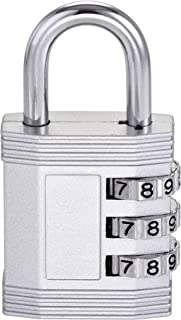 uxcell 3 Digit Combination Luggage Lock Travel Resettable Padlock Zinc Alloy Silver Tone 61x32x13.5mm