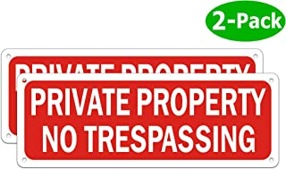 No Trespassing Signs Private Property Security Warning Metal Yard Sign Reflective Red Aluminum for Garden Outdoor Indoor Gates Weatherproof Rust Free Easy Installation (2 Pack 10 x 3.5 inches)
