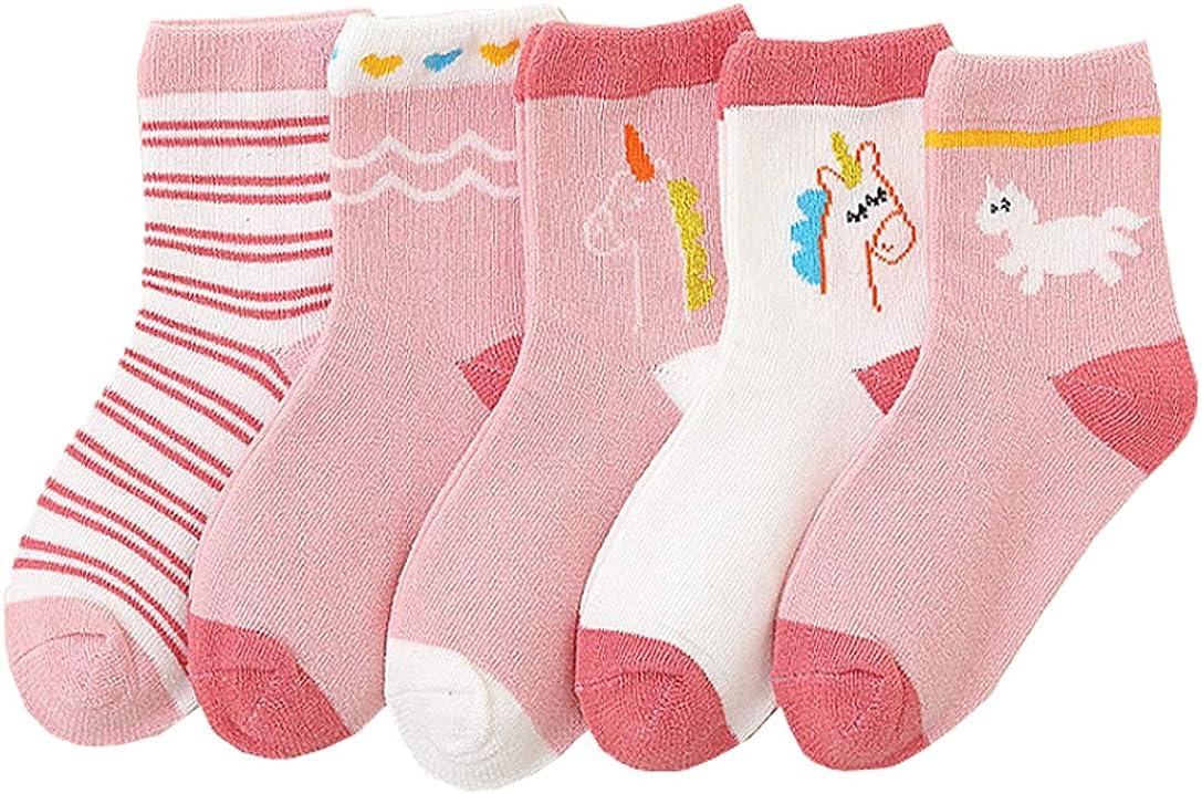 Age 2-12 Girl's Adorable Animal Socks Rabbit/Unicorn Socks 5 Pairs
