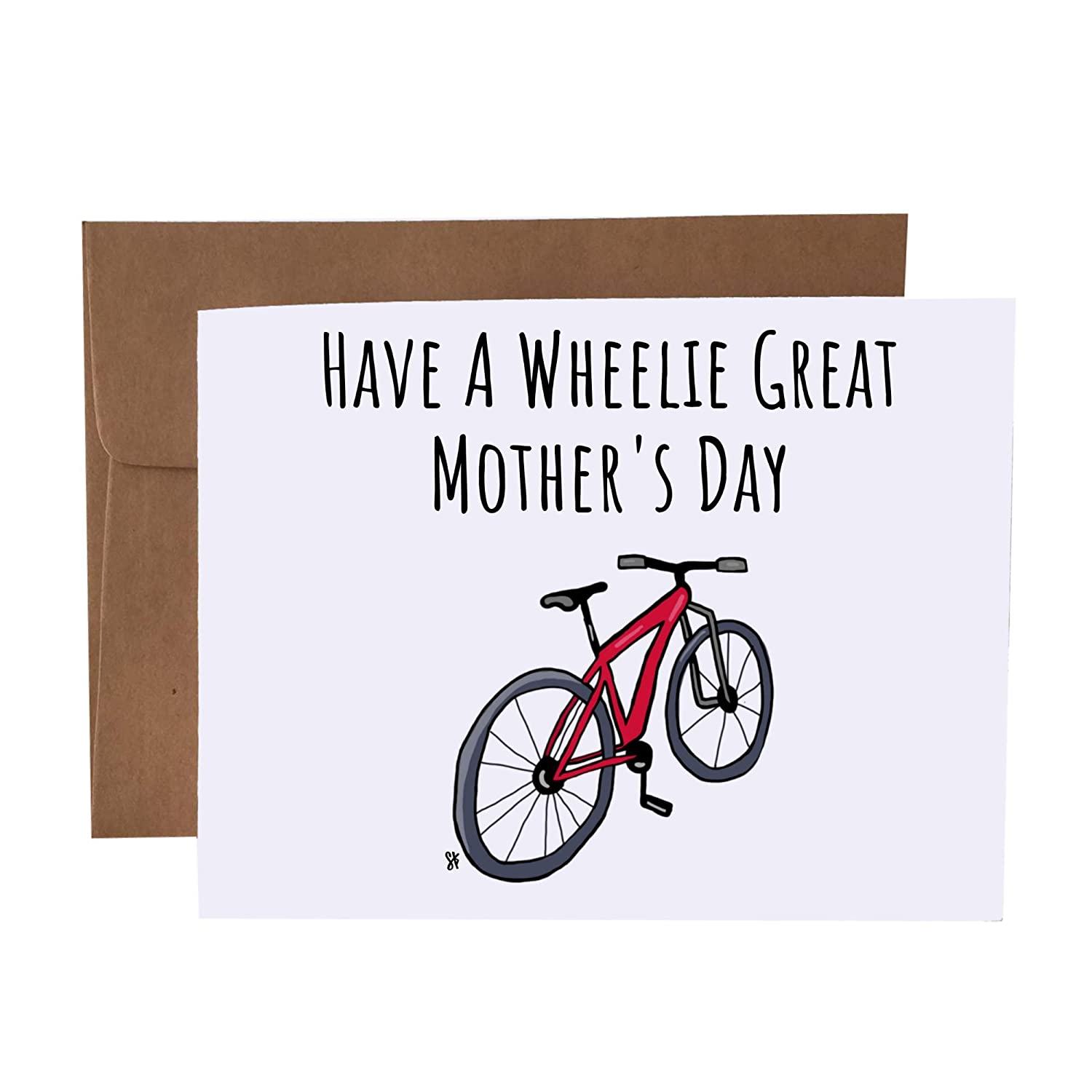 Have A Wheelie Great Mother's Sales for sale Card Bike Day Pun Max 82% OFF