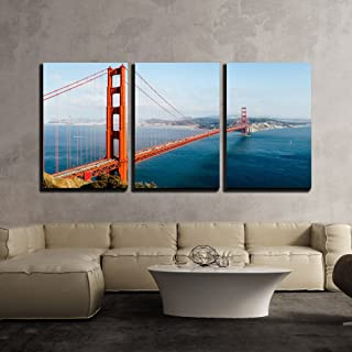 wall26 - 3 Piece Canvas Wall Art - Golden Gate Bridge, San Francisco, California, USA. - Modern Home Decor Stretched and Framed Ready to Hang - 24