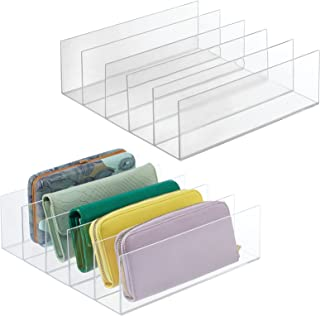 mDesign Plastic Divided Purse Organizer for Closets, Bedrooms, Dressers, Shelf Storage - Holds Purses, Clutches, Wallets, ...