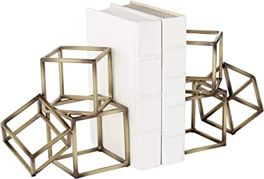 "Studio 55D Tricube Antique Brass Finish 7 1/2"" High Geometric Bookends"
