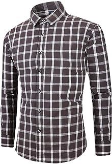 XBOTS [ かっこいい シャツ] メンズ冬長袖ボタン折り襟カジュアルトップブラウスシャツ ブラック、ブラウン、ピンク、M-XXXL 綿+ポリエステル ボタンダウン チェックシャツ スタンダード シルエット お洒落 カジュアル フランネル生地 メンズ チェックシャツ ボタンダウン ワイシャツ 折襟 カジュアル 柔らかい おしゃれ 大きいサイズ NEW