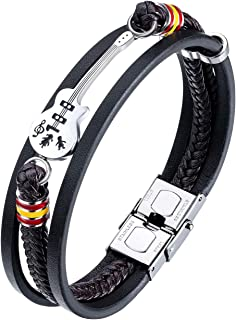 Mens Leather Cuff Bracelet Handmade Black Multi-Layer Cowhide Woven Rope Guitar Bangle, 8.3inch[Adjustable]