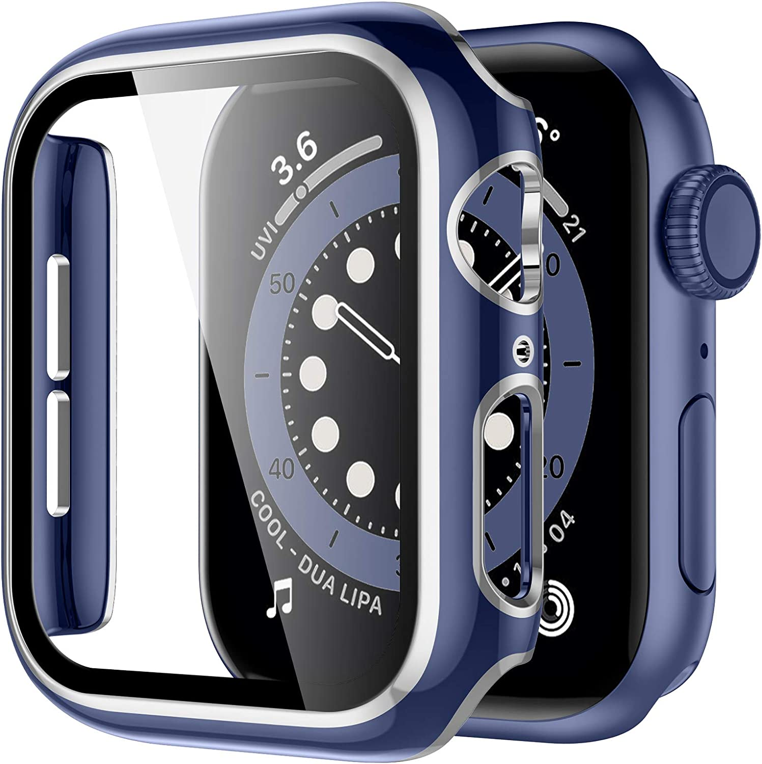 GEAK Case Compatible with Apple Watch SE 44mm Series 6/5/4 Built-in Screen Protector, Blue Hard PC Bumper Full Cover Pink Edge Protective Case for Women Men iWatch Case44mm Blue/Silver
