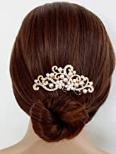 Aegenacess Wedding Hair Decorative Comb Rhinestones Crystal Flower Bridal Clips Veil Vintage Filigree Prom Accessories Accessory Headpiece for Brides and Bridesmaids Women and Girls (gold)
