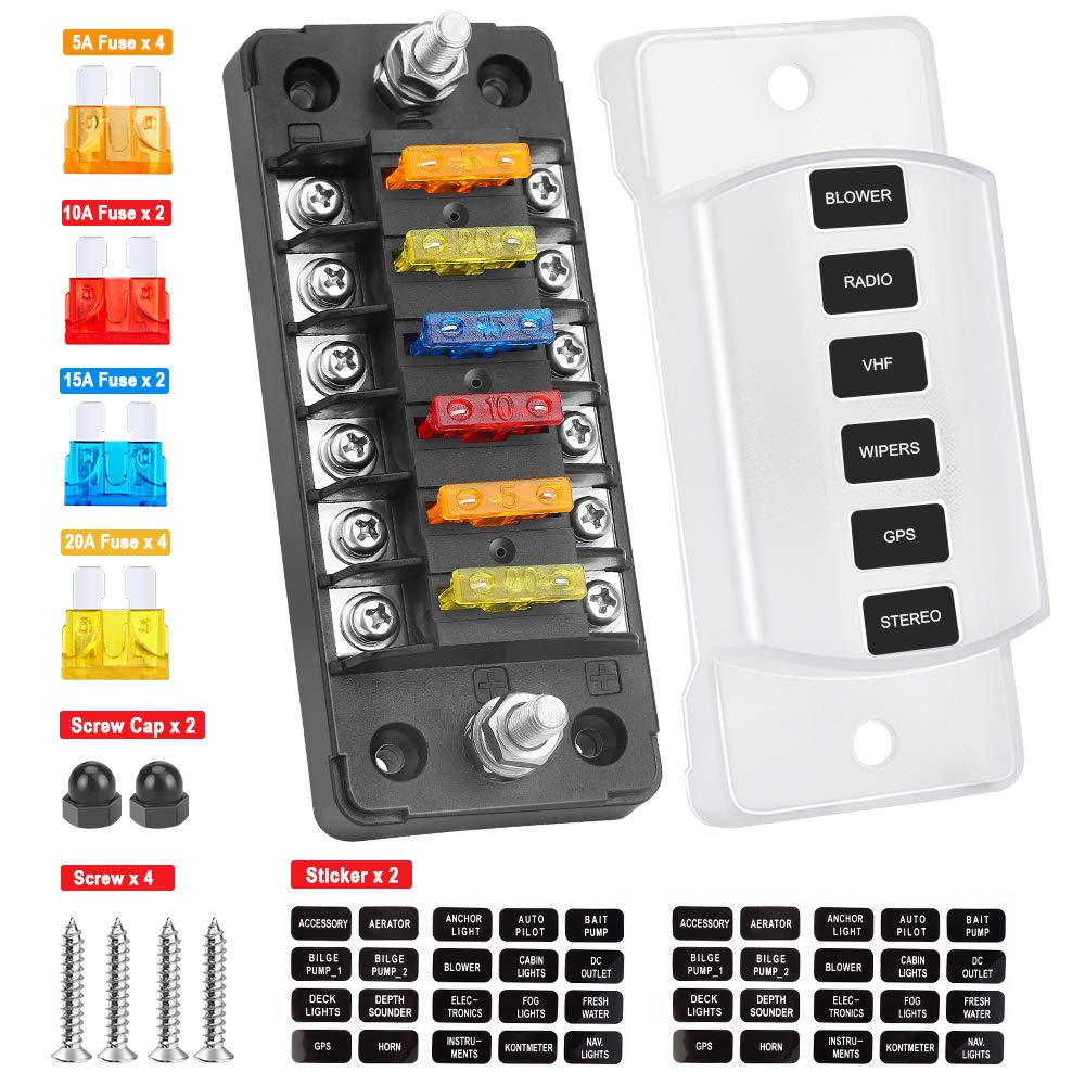LED Light Indication /& Protection Cover 6-Way Fuse Box Holder W//Negative 6-Circuit Blade Fuse Block Box with Ground Bolt Connect Terminals Stick Label for Vehicle Car Boat Marine Auto SUV 6-Way