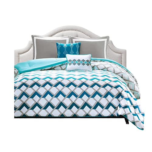 Intelligent Design Comforter Set For Teen Girls Full Queen Twin Turquoise  Blue Grey And White Bundle