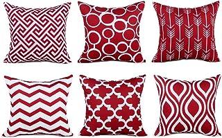 DUCHEN Funda de cojín de lino y algodón, diseño geométrico, color naranja, 6 unidades, 45 x 45 cm, color rojo