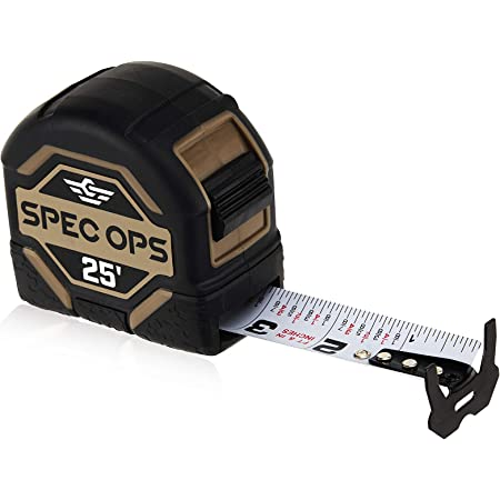 """Spec Ops - SPEC-TM25 Tools 25-Foot Tape Measure, 1 1/4"""" Double-Sided Blade, Military-Grade Composite Case, 3% Donated to Veterans Black/Tan"""