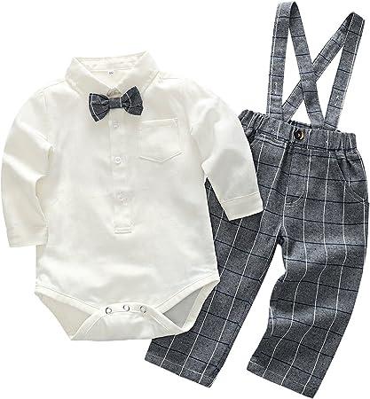 Feoya Conjunto de Ropa bebé Niño Recién Nacido Camisa Manga Larga Pantalones Cuadros con Tirantes 6-9 Meses - Gris
