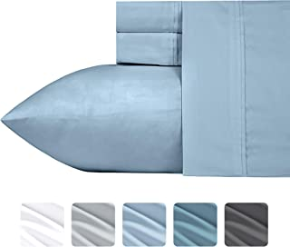 California Design Den #1 Bed Sheet Set 700-Thread-Count Poly Cotton Sheet Set Morning Blue Queen, 4-Piece Bedding Sheets for Bed, Breathable, Sateen Weave, Fits Mattress Upto 18'' Deep Pocket