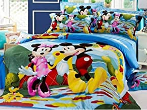 IVAZA New 144 TC Microfibre Micky Mouse Cartoon Print 3D Printed Double beddheet with 2 Pillow Cover Multi Colour
