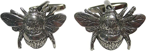 Kiola Designs Silver Toned Bumble Bee Bug Insect Cufflinks