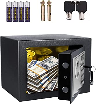 AOLIER Safe box, Safe and Lock Box, Money Box, Fireproof Digital Keypad Safe Box for Cash Jewelry Passport Gun Security, Wall