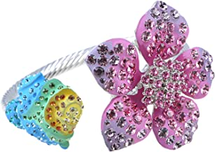 Alilang Womens Floral Vintage Colorful Crystal Flower Wedding Prom Fashion Statement Cuff Bracelet