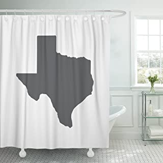 TOMPOP Shower Curtain Austin Texas Grey State Border Map Houston Texan Dallas Waterproof Polyester Fabric 72 x 78 Inches Set with Hooks