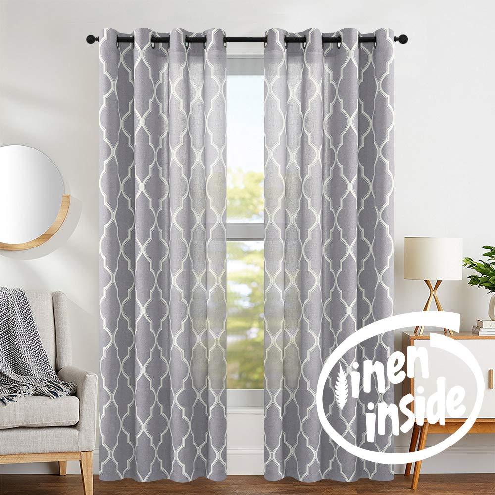 jinchan Quatrefoil Linen Blend Curtains