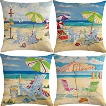 """7COLORROOM 4pack Beach Theme Throw Pillow Covers Beach Holiday Series with Beer Pattern Happy Summer Time Cushion Covers Coastal House Home Decorative Pillowcases 18""""×18""""(Deck Chair)"""