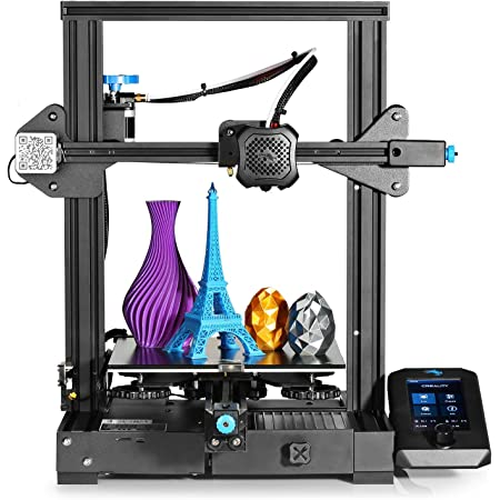Official Creality Ender 3 V2 2021 3D Printer Upgraded with Silent Motherboard | Meanwell Power Supply | Tempered Carborundum Glass Plate and Resume Printing | Integrated Structure | Bed 220x220x250mm