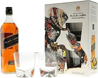 Johnnie Walker Black Label in GP mit 2 Gläser Blended Scotch Whisky 1 x 0,7l