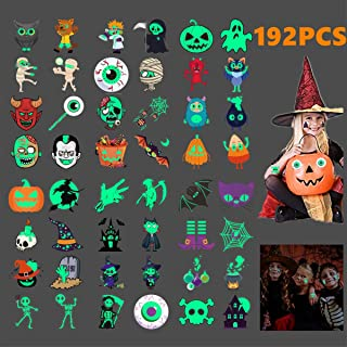 192pcs Assorted Halloween Tattoos for Kids, Temporary Tattoos for Kids, 48 Designs Glow in the Dark for Halloween Party Favor Trick or Treat Gifts Candy Bag Ghost, Skeleton Pumpkin, Witch Children Tattoos