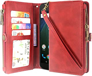 Moto G5 Plus Case, Moto G Plus (5th Gen) Case, Linkertech Premium Leather Flip Zipper Wallet Case Cover with Card Holder and Wrist Strap for Moto G Plus (5th Gen) (Zipper Red)